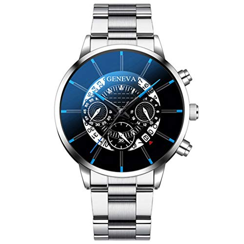 Fcostume Mode Herren Quarz Chronograph Edelstahl Uhren Business Casual Sport Design Armbanduhr für Herren (F)