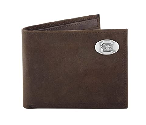 NCAA South Carolina Fighting Gamecocks Light Brown Crazyhorse Leather Bifold Concho Wallet, One Size by ZEP-PRO