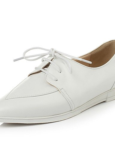 ZQ Scarpe Donna - Stringate - Formale - A punta - Zeppa - Finta pelle - Bianco / Argento , silver-us8 / eu39 / uk6 / cn39 , silver-us8 / eu39 / uk6 / cn39 white-us6 / eu36 / uk4 / cn36