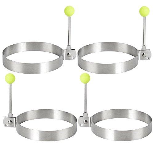 Royaliya Edelstahl Spiegelei Omeletts Form braten Eierformer Ei Pancake Küche Werkzeug Ringe Herzform (4x Rundform)