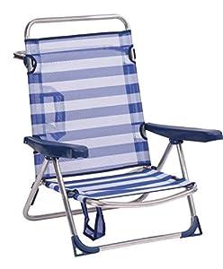Alco- Silla Cama Playa Aluminio FIBRELINE Rayas Azul Marino Color 56 82X62X65, Multicolor (607ALF-0056)