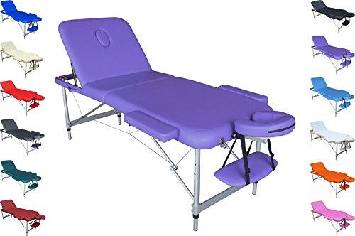 ERCURIO–Bett tragbar, zusammenklappbar, leicht, mit Tasche, Struktur Aluminium, ideal als Massageliege, für Kosmetische Behandlungen, Physiotherapie, Haarentfernung, Maniküre und Pediküre, Tattoo, Sport, Arzt Roaming, lilas (Arzt Mit Tattoos)
