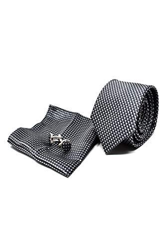 Cravatta da uomo, fazzoletto da taschino e gemelli grigio a righe - 100% seta - classico, elegante e moderno - (confezione regalo, ideale per un matrimonio, con un abito, in ufficio...)