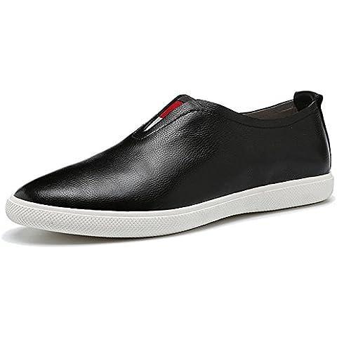 inverno autunno vera pelle moda stile British bordo di pizzo scarpe casual uomo , black , 39