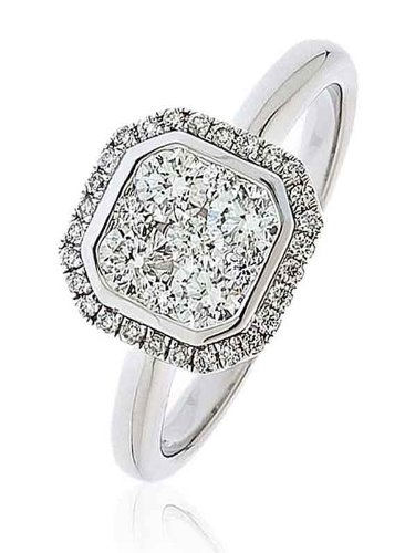 0.70CT Certified G/VS2 round brilliant Cut micro pave cushion shape cluster Diamond ring in 18K white Gold