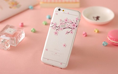 iPhone 6S Plus Hülle,iPhone 6 Plus Hülle,iPhone 6S Plus / 6 Plus Hülle,ikasus® [Mit Frei Glasfolie Hartglas Schutzfolie + Stylus Pen] iPhone 6S Plus Silikon Hülle [Kristallklar Durchsichtig],Crystal C Kirschblüte #2