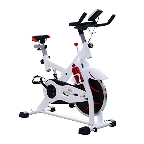 homcom Cyclette per Spinning Professionale con Schermo LCD 105 × 49 × 119cm Bianco
