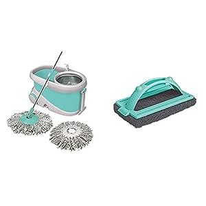 Spotzero by Milton Prime Mop with Big Wheels and Stainless Steel Wringer (Aqua green, 2 refills) & Ruff N Tuff Floor Scrubber (Aqua Green) Combo