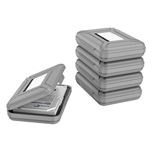 Yottamaster 5 Stück 3.5 Zoll Festplattentasche Schutztasche Schutzbox für 3.5\'\' Festplatten/Kameras/Mobile Stromversorgung/Digitale Geräte Staubdicht, Antistatisch-Grau