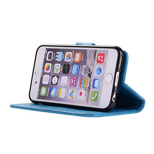 Custodia iPhone 7 Cover Kcdream Fashion Moda Ultraslim PU Caso Elegante Carina Souple Leather Morbido Wallet Copertura Perfetta Protezione Shell Paraurti Custodia Per iPhone 7 (4.7 pollici) Cover Cope Blu