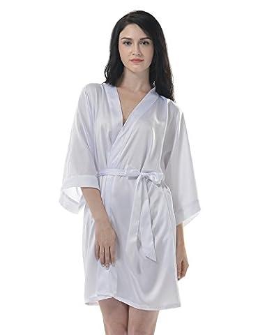 Remedios Remedios Women's Kimono Robe Short Bridesmaid Satin Wedding Party Dressing Gown, White, S