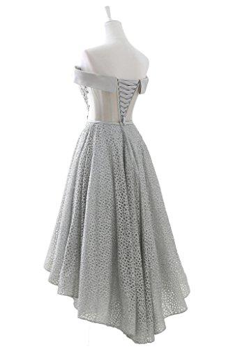 Gorgeous Bride Modisch Traegerlos Hi-Lo Tuell Kmielang Abendkleider Kurz Cocktailkleid Ballkleider Silver