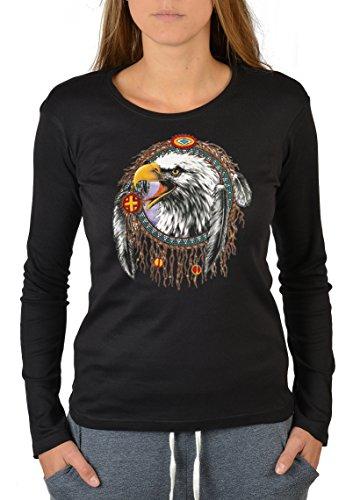 Damen Long Sleeve Western Shirt (Western Motiv Damen Longsleeve : Dreamcatcher eagle -- figurbetontes Indianer Langarmshirt Damen Gr: XL Fb: schwarz)