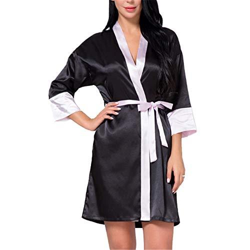 Mujer Kimono Satén Pijamas Elegantes Bata Satén Camisones para Mujeres Albornoz,Simulación Cardigan de Seda Sexy Color a Juego Pijama de Seda Hielo Negro L