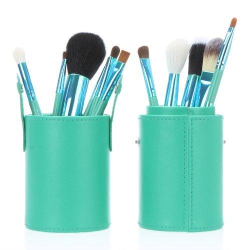 Davidsonne Nouveau 12 professionnel manche en bois Pinceaux de maquillage Cosmétique Pinceau de maquillage avec trousse de rangement rigide en cuir (Vert)