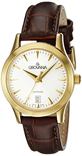 GROVANA 3201.1512 Women's Quartz Swiss Watch with Silver Dial Analogue Display and Black Leather Strap