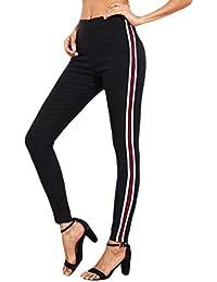 Pantalons Taille Haute Basique Femme Legging 2 Rayé Pantalon Collants  Stretch Slim Fit Amincissant Skinny Chic f74b30aebdb6