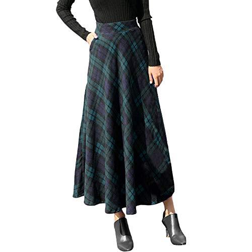 Lenfesh Ropa de Mujer Falda Plisada de Cuadros Escoceses Falda Larga de Cintura elástica Invierno para Mujer