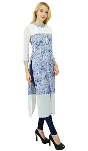 Bimba les femmes rayonne droite kurta kurti top tunique formelle décontractée Bleu