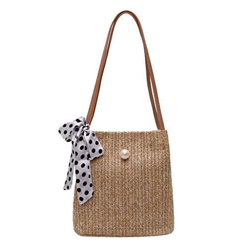 DAKERTA Damen Rattan Tasche Handarbeit Umhängetasche Strandtasche Sommer Straw Braided Woven Bag Sling Bag (Khaki B) Alicia Sling