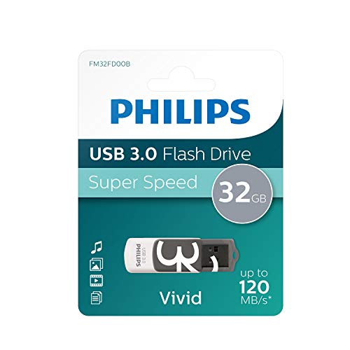 Philips Vivid 3.0 USB Stick 32GB - High Speed Design Speichermedium 32 GB - Lesen: 120 MB/s, Schreiben: 20 MB/s (120-gb-usb-stick)