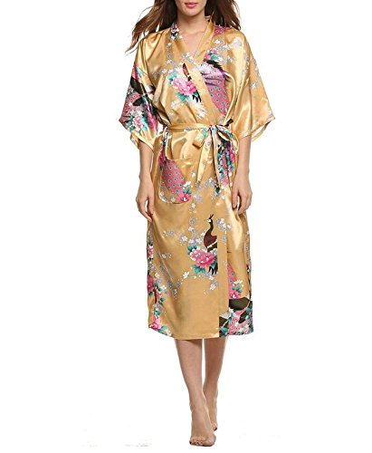 Encan Bademantel / Morgenmantel / Kimono für Damen, lang, klassisches Design, Satin Gr. M, Peacock Yellow -