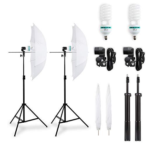Hochwertiges HAUSER & PICARD 400 Watt Double-Set: 2x Durchlicht-Schirm Weiß + 2x Foto-ESL + 2x Foto-Stativ   Foto-Schirm / Studio-Schirm / Studio-Licht inklusive 2x Schnellstart-Tageslichtlampe (5500 K) mit 400 Watt Äquivalenzleistung und 2x Foto-Stativ