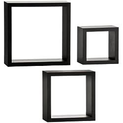 Premier Housewares 2402799 Lounge Cube Lot de 3 Étagères Murale en Noir
