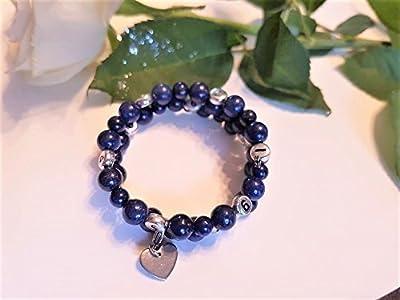 Bracelet PERSONNALISE d'allaitement/biberon en Lapis Lazuli - version pierre fines semi précieuses -