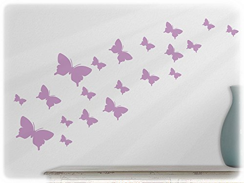 wandfabrik - Wandtattoo / Wallsticker - 20 Schmetterlinge (Set 2 - 3,5 - 10 cm) in Flieder