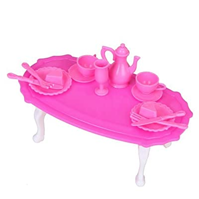 Doll House Miniature Dining Room Furniture Dining Table Set for Small Doll - Shocking Pink And White produced by WayGo - quick delivery from UK.