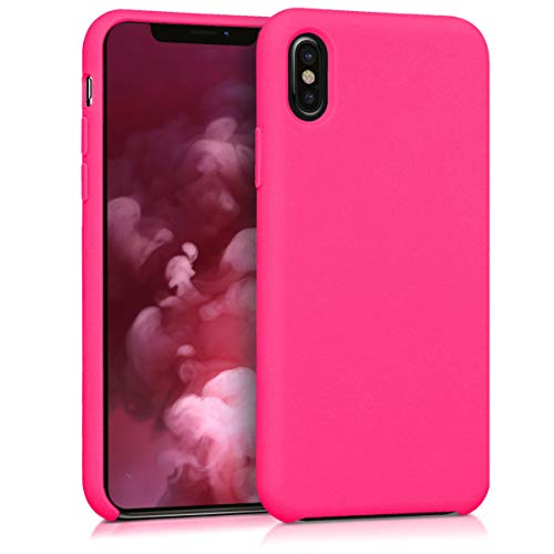 Kwmobile apple iphone x cover - custodia per apple iphone x in silicone tpu - back case cellulare rosa shocking