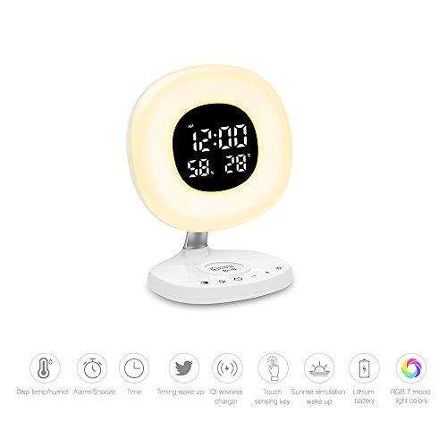 Reloj despertador con Qi de carga inalámbrica, despertador, luz solar digital, reloj despertador, 7 colores, lámpara de mesa