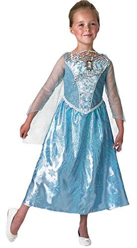 erdbeerloft - Mädchen Karneval Komplett Kostüm Kleid Musical and light up Elsa, Mehrfarbig, Größe 110-116, 5-6 Jahre
