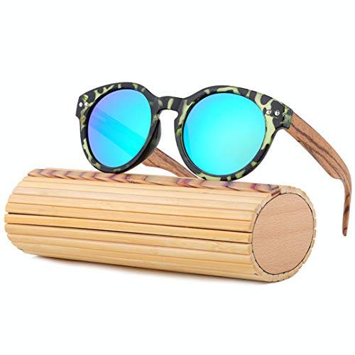 DAIYSNAFDN Bambus Sonnenbrille Frauen Handgefertigte Holz Sonnenbrille Polarisierte Vintage Sonnenbrille Runde Rahmen C1 with Case