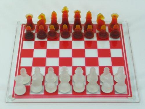 Schachbrett mit Glasfiguren in weiß und rot 35x35cm Schachspiel Geschenk