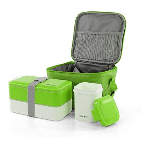 Lunch box haute qualité pour petit déjeuner boîte avec jeu de 2 behaltern 1200 et 380 ml avec un sac isotherme Vert