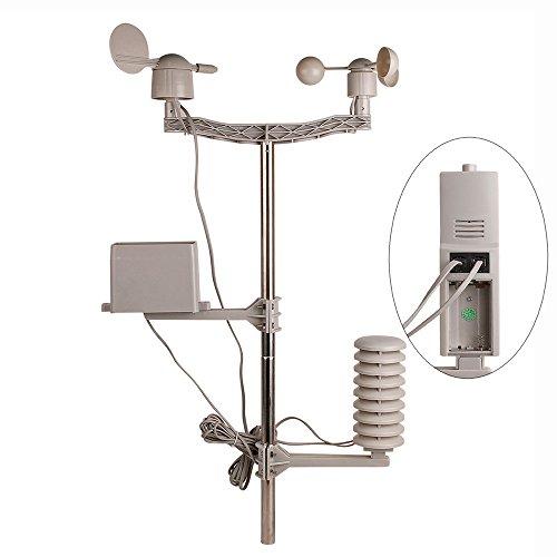 YAOBLUESEA Wetterstation Funkwetterstation Wetterstationen mit Funk Windmesser /Regenmesser /Temperatur mit Alarmen / Luftfeuchtigkeit ,Software Touchscreen - 6