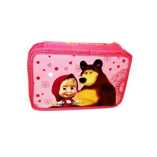 Viscio trading 166184 astuccio zip masha and bear, txt poliestere/legno/cera/inchiostro, multicolore, 20x14x5 cm