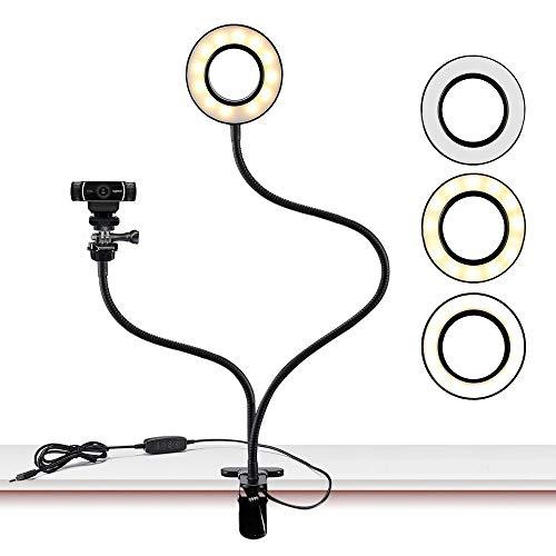 Webcam Light Stand für Live Stream, Selfie Ring Licht mit Webcam Halterung für Logitech c925e, C922X, C930e, C922, C930, C920, C615, Brio 4K