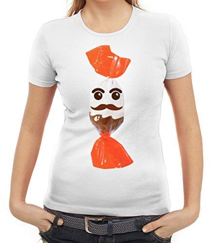 Karneval Fasching Verkleidung Damen T-Shirt Gruppen & Paar Kostüm Schokoladenmännchen, Größe: L,Weiß