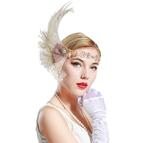 Stirnband 20er Jahre Stil Art Deco Flapper Haarband Great Gatsby Stirnband Damen Kostüm Accessoires (Feder mit elastischem Band) (Flapper Kostüme Great Gatsby)