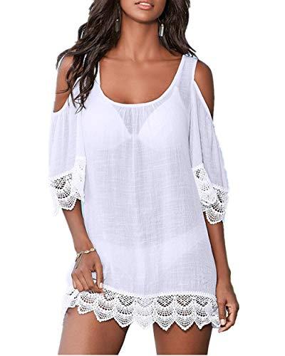 PANAX Schulterfreies Damen Strandkleid in Weiß - Bikini Kittel Sommer Poncho Shirt-Kleid mit Spitze