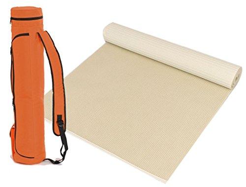 """Bausinger Yogaset: Yogamatte """"Die junge Matte"""" aus Biowolle 5mm, 80x200 cm, natur, mit passender Yogatasche in orange"""