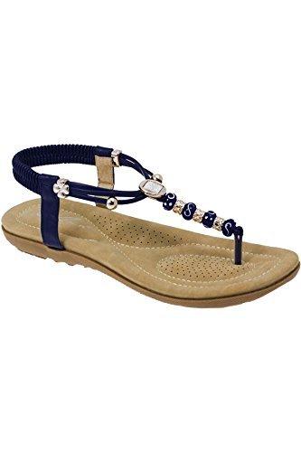 FANTASIA BOUTIQUE JLH879 Murana Damen Mit juwelen besetzt Gepolstert  Elastisch Zehensteg Tanga Wulstig Sandalen Blau
