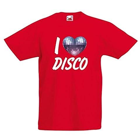 T-shirt pour enfants I Love Disco - vêtements de musique rétro (7-8 years Rouge Multicolore)