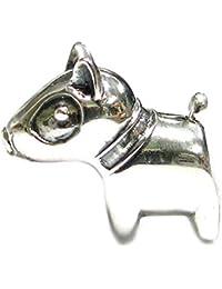 Abalorio en forma de bonita cabeza de pitbull de plata de ley para pulseras de abalorios europeas