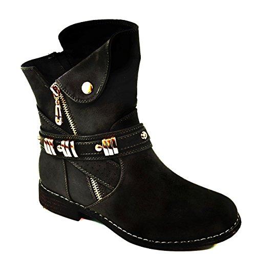 Damen Stiefeletten Stiefel Schnalle Schlupf Biker Boots Nieten Reißverschluss Blockabsatz 811 (36, Schwarz)