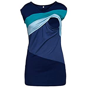 HAPPY-MAMA-Mujer-Top-Camiseta-Premam-Lactancia-Bloque-De-Color-Doble-Capa-369p-Aguamarina-Azul-Claro-EU-42-XL