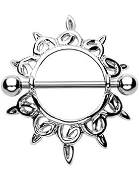 beyoutifulthings SCHILD RING TRIBAL Brustwarzen-piercing Intim-piercing Brust-piercing Nippel-piercing EDELSTAHL...